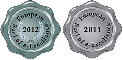 Sello de platino de European Seal of e-Excellence 2012 y sello de plata de  European Silver Seal of e-Excellence 2011